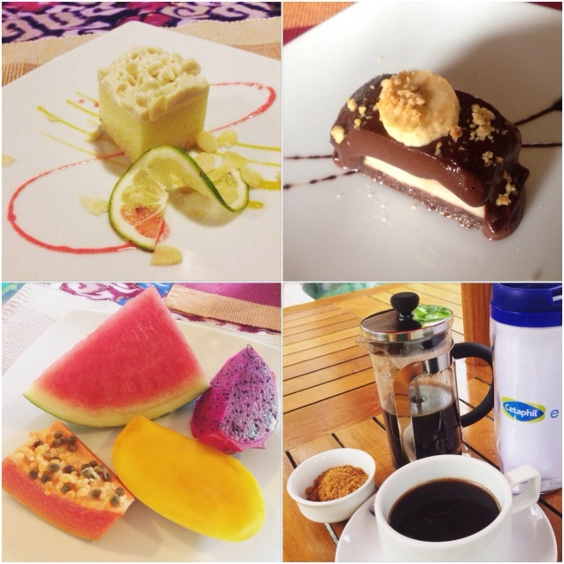 One of the reasons why I can be a vegan if I want to: I can drink coffee. On the upper left is a lime meringue, and on the upper right, some chocolate-filled dessert.